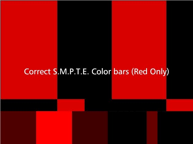Correct S.M.P.T.E. Color bars (Red Only)